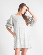 Julianna Striped Ruffled Sleeve Dress