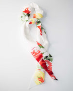 White Floral Scrunchie Hair Ribbon