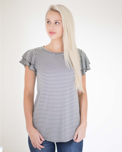 Morgan Striped Ruffle Sleeve Tee | Rose & Remington