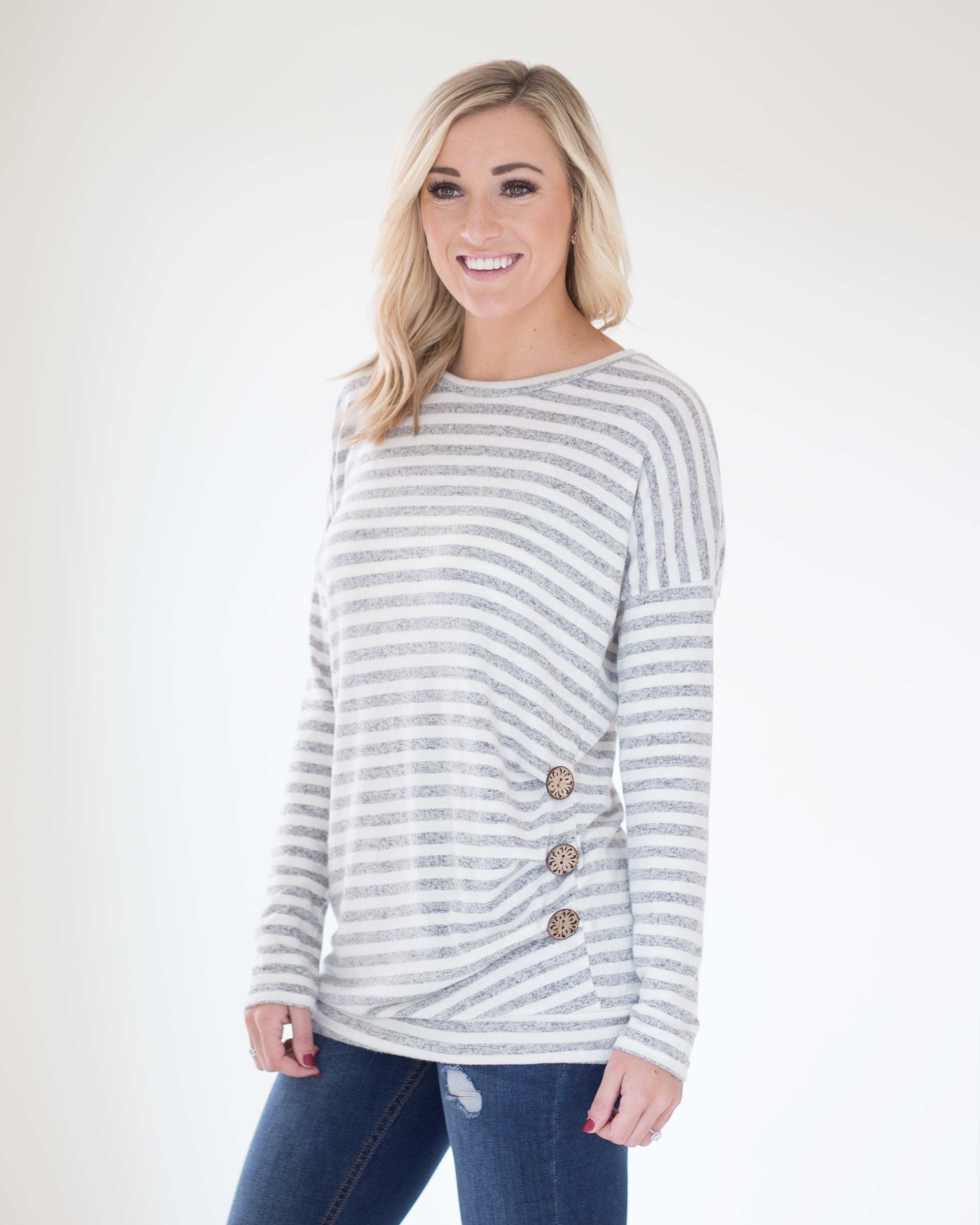 Sadie Side Button Long Sleeve Top