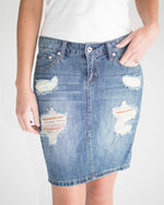 Distressed Midi Skirt