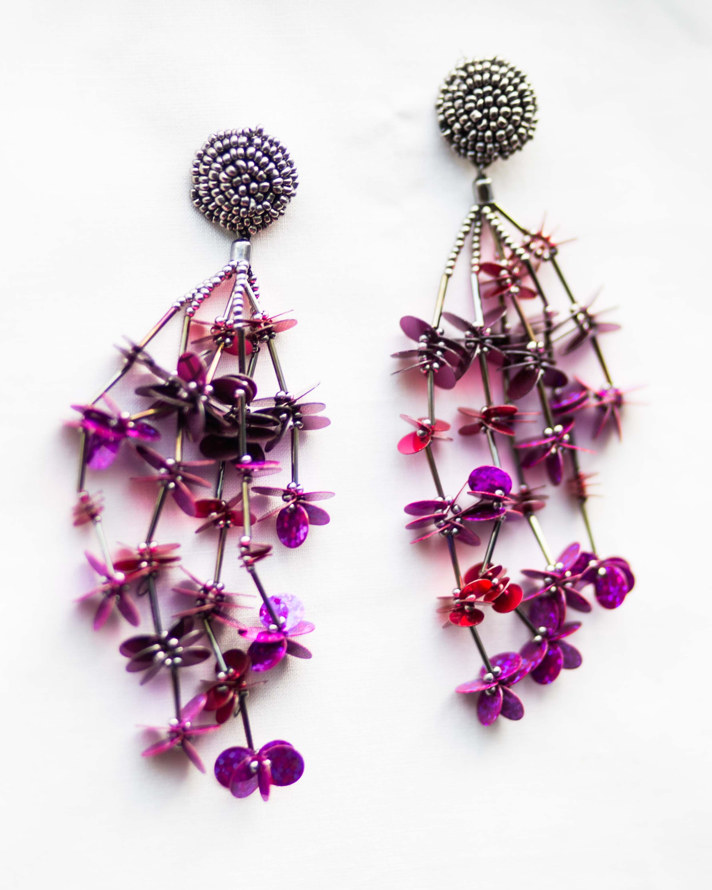 Fuchsia Floral Sequence Earrings