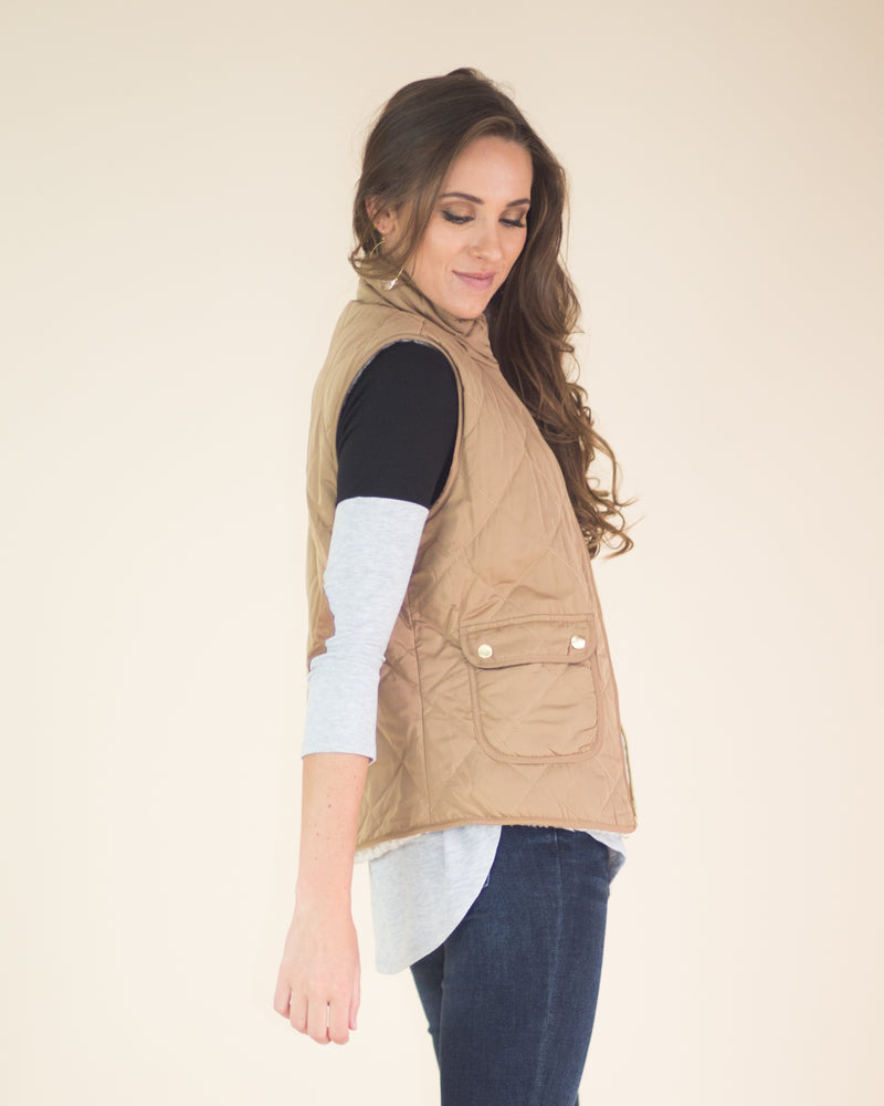 Quilted Sherpa Reversible Vest