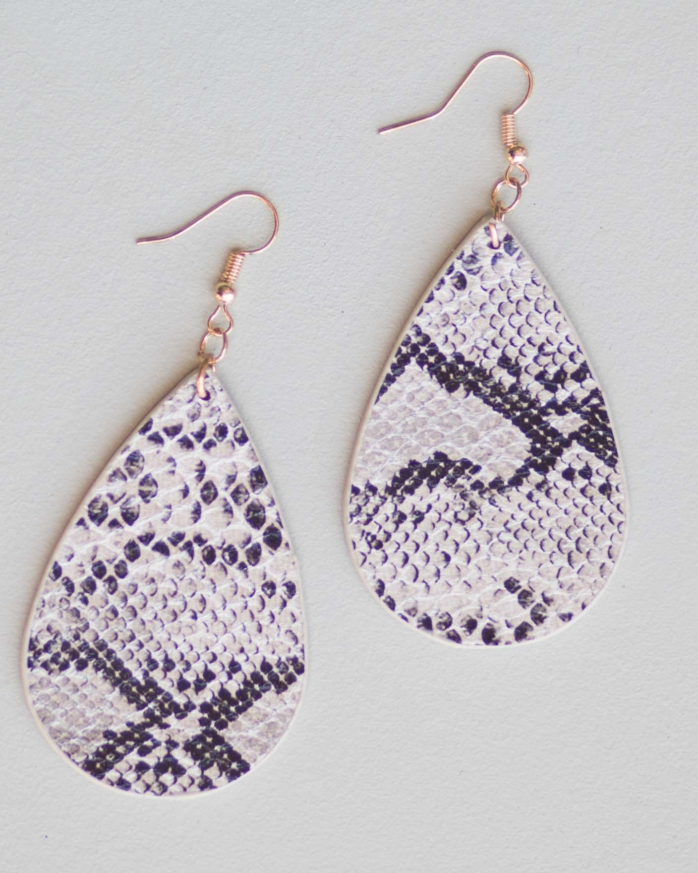 Leather Snake Print Earrings