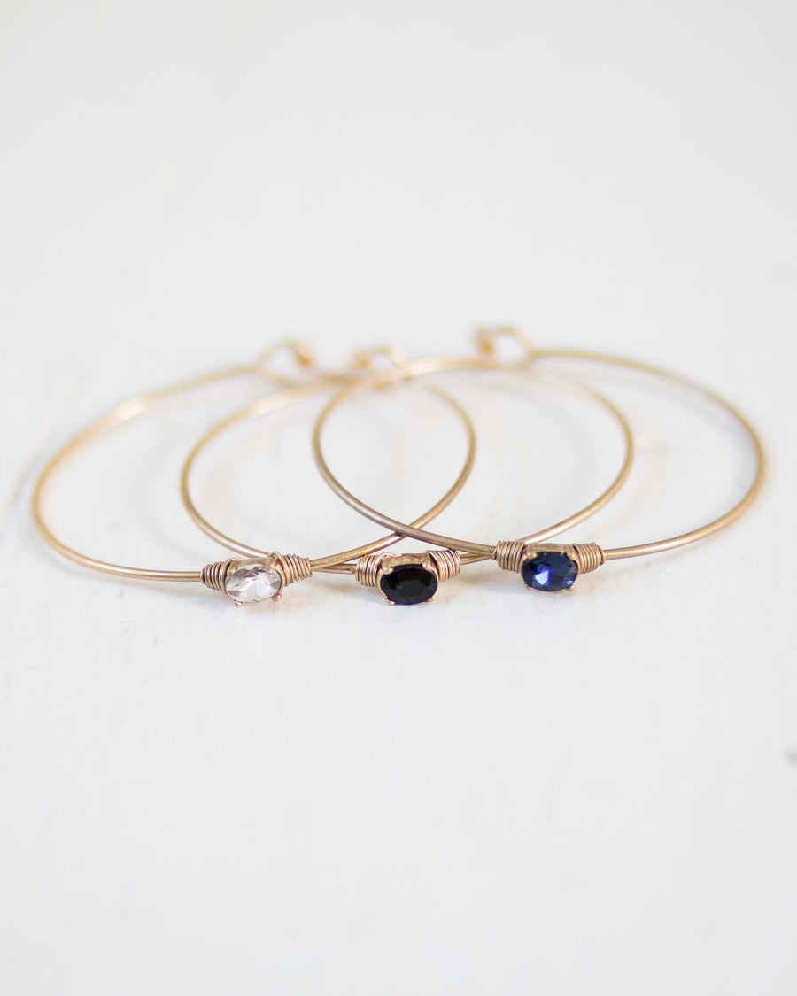 Simple Gem Bangle Bracelet