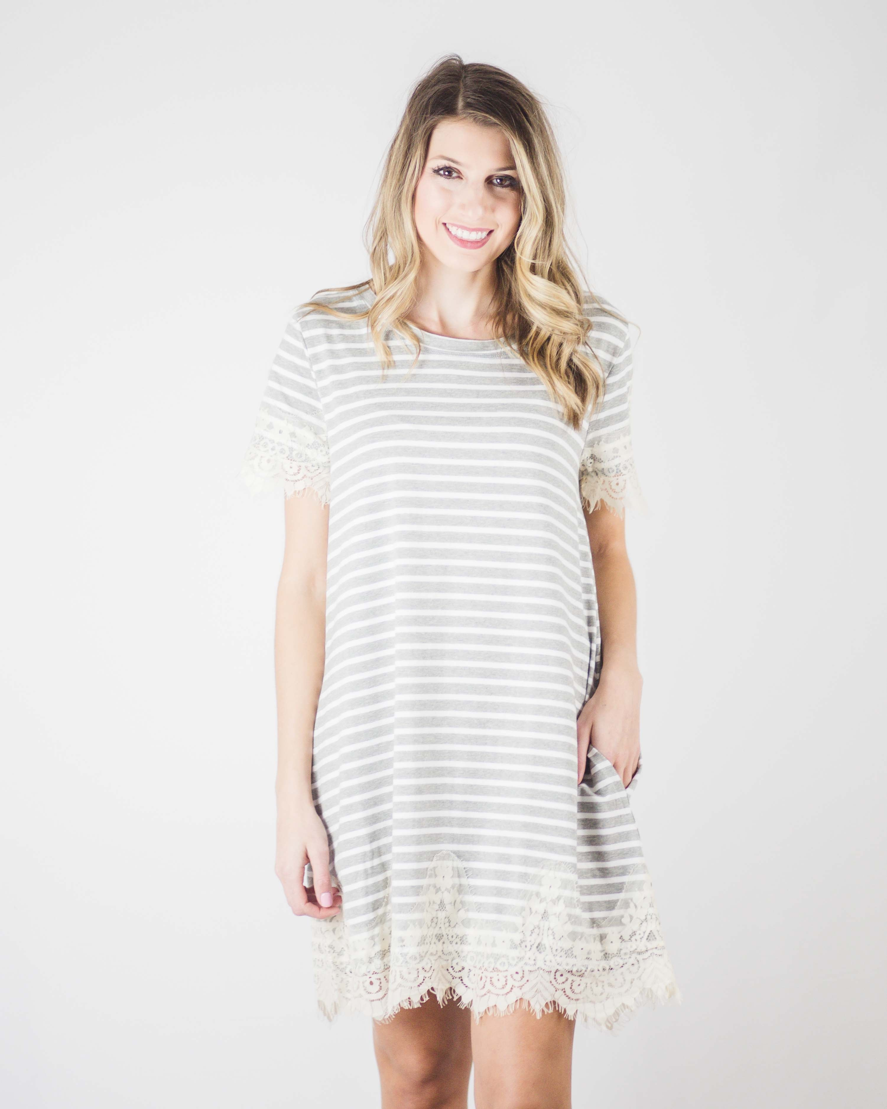 Sophie Lace Trim Tee Dress