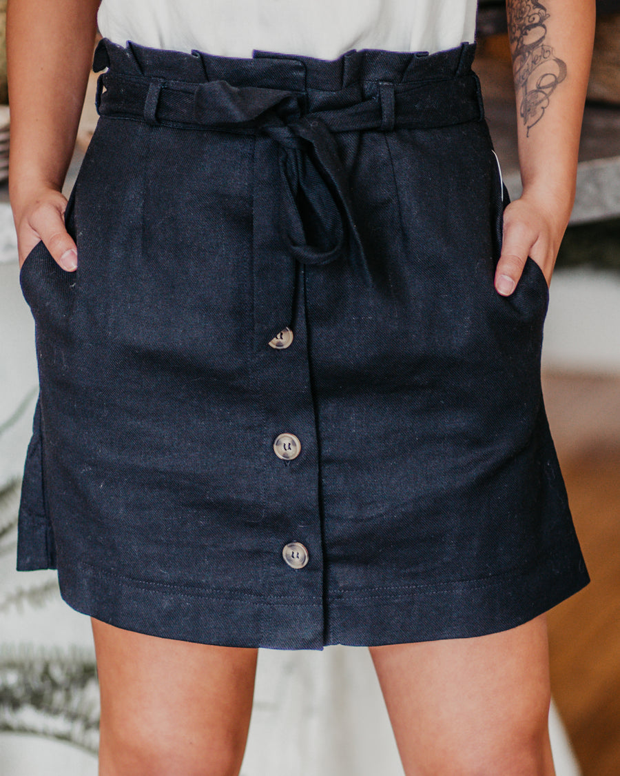 Tie Front Buttoned Mini Skirt
