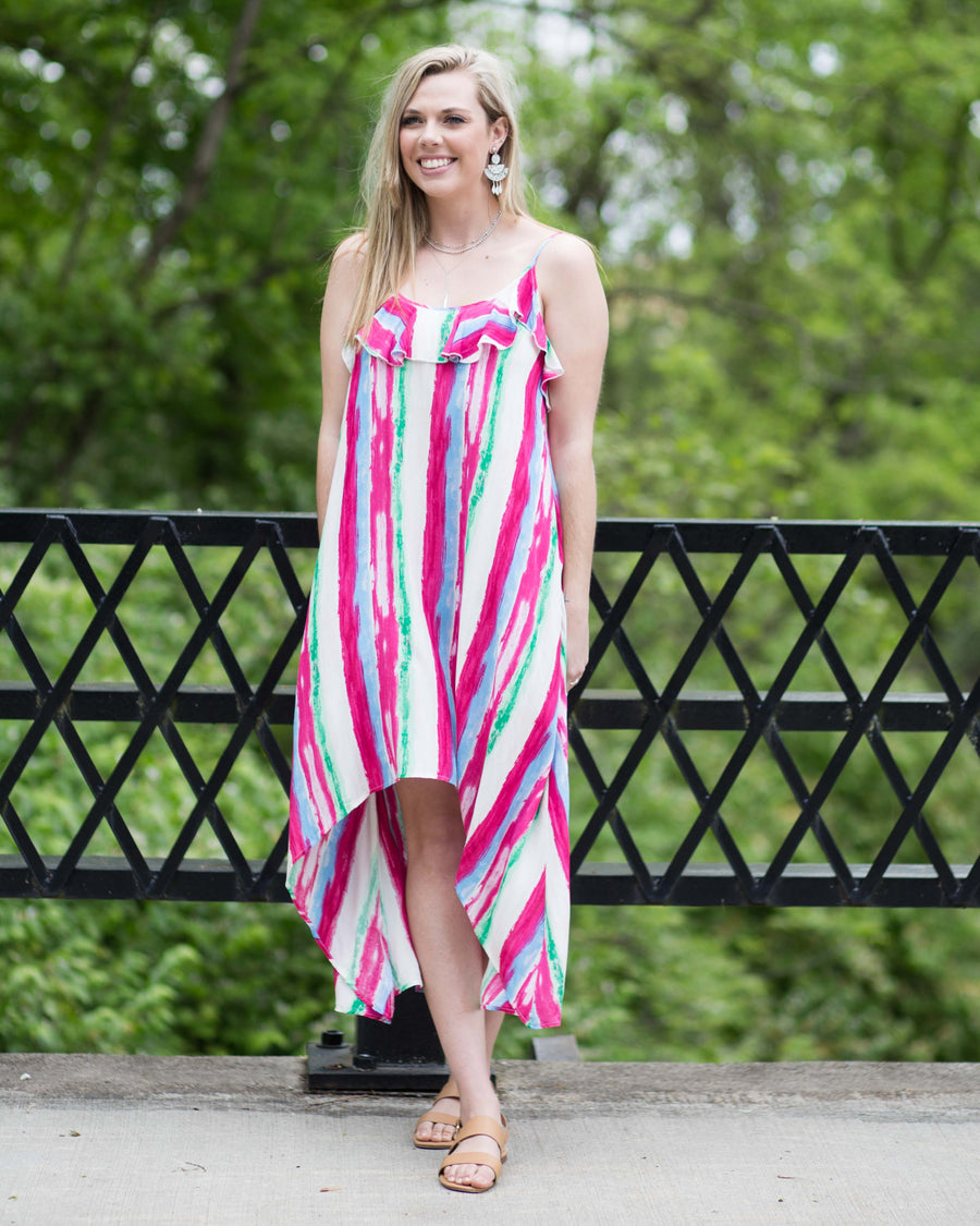 Vibrant Sleeveless Tapered Dress