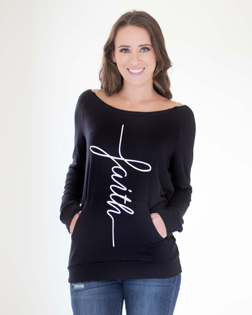 """Faith"" Boat Neck Pullover Top"