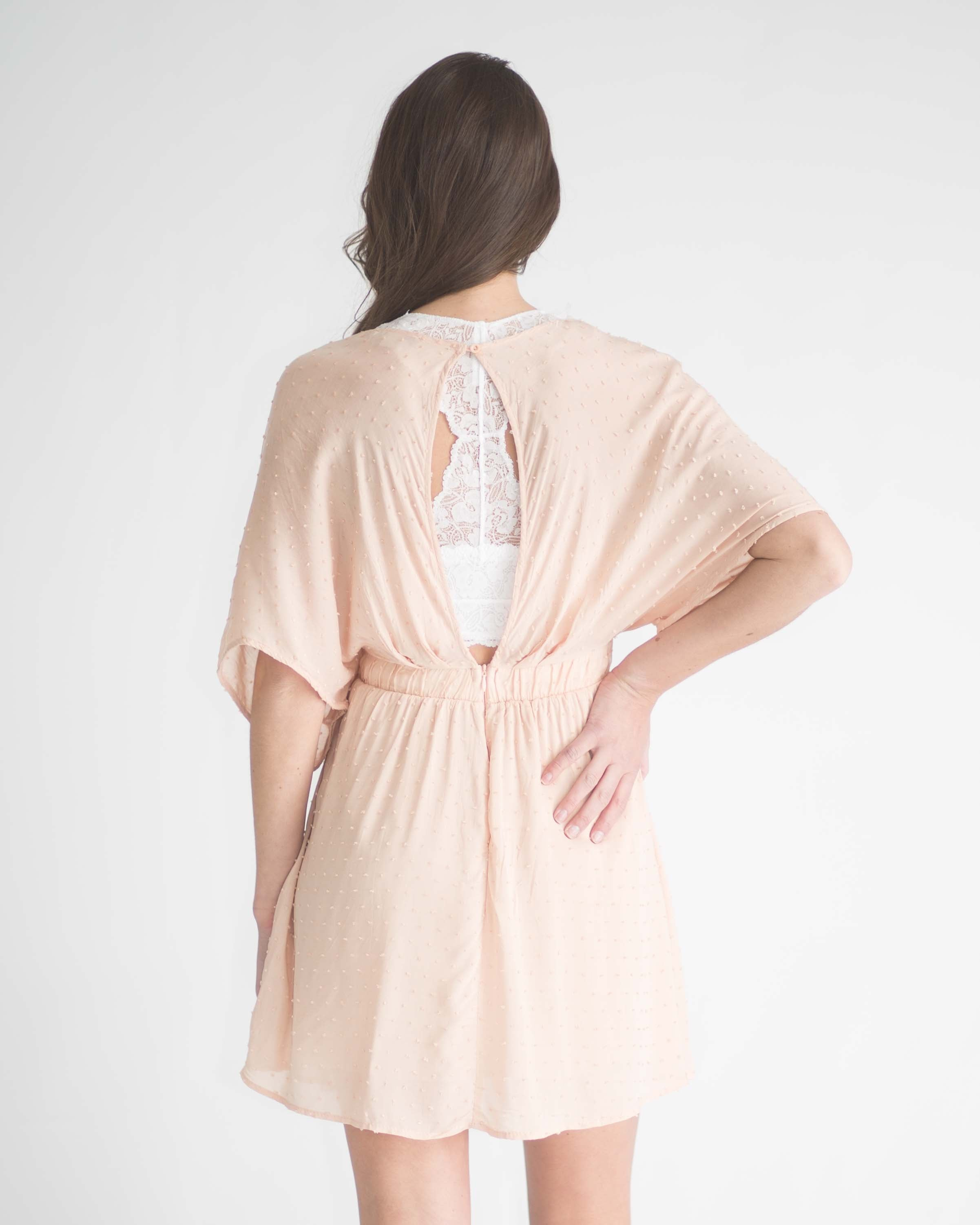 Blush Swiss Dot Kimono Dress