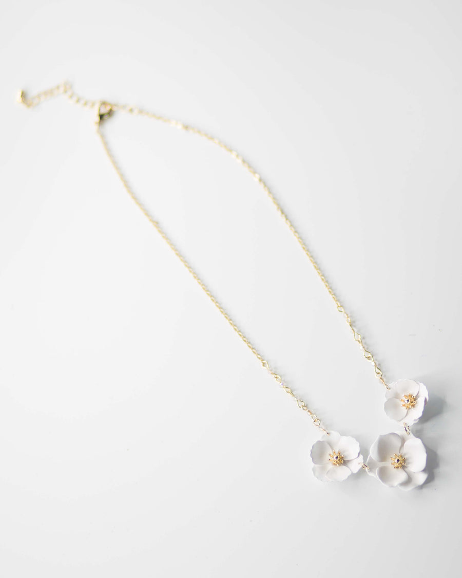 Ivory Floral Trio Necklace