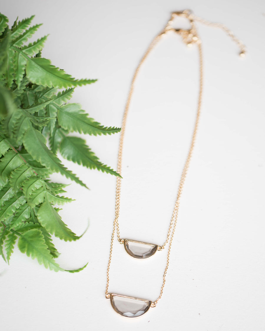 Layered Half Disc Pendant Necklace