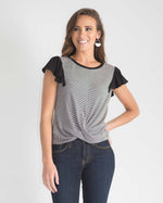 Flutter Sleeve Twist Front Top