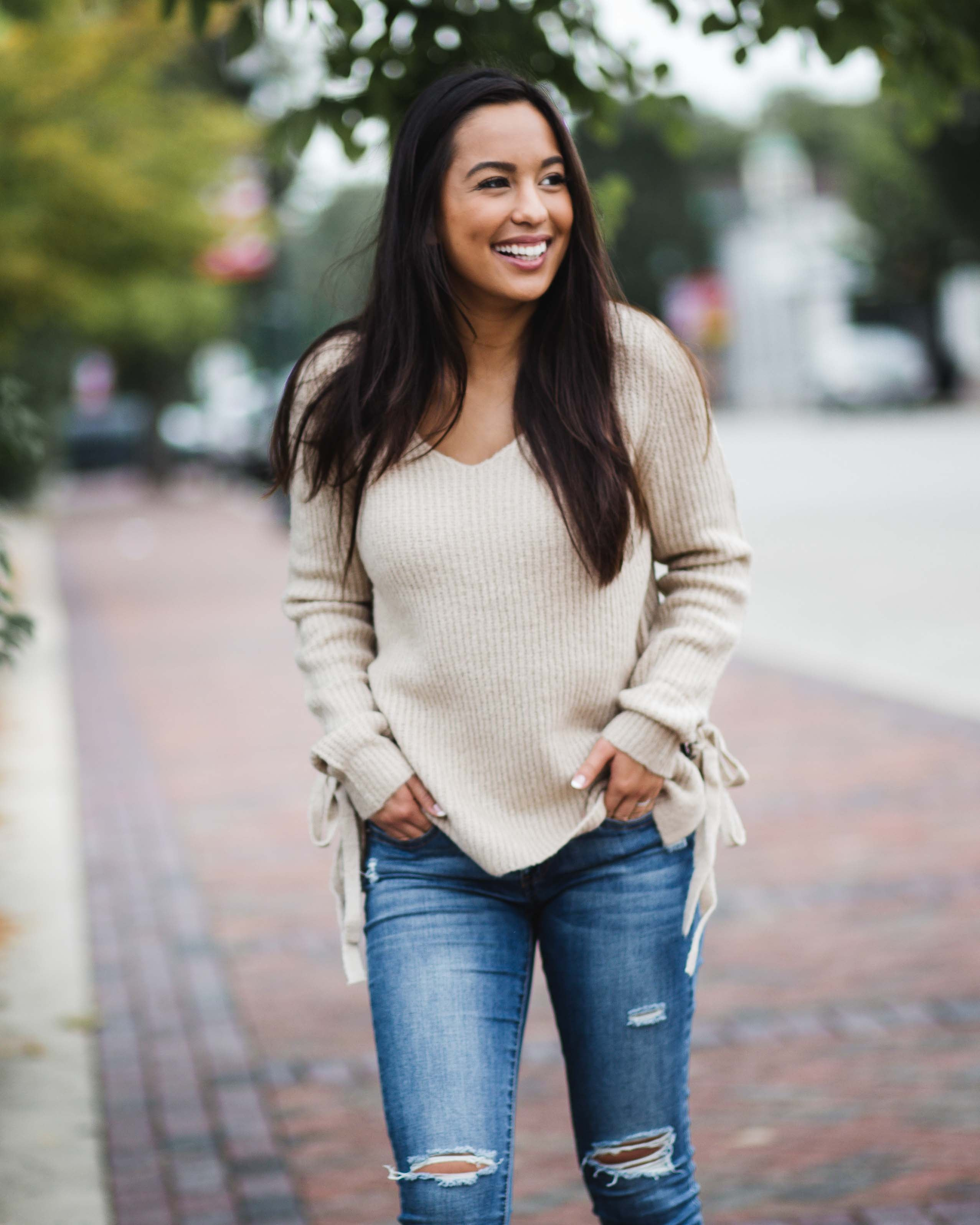 Fawn Side Tie Sweater | Rose & Remington