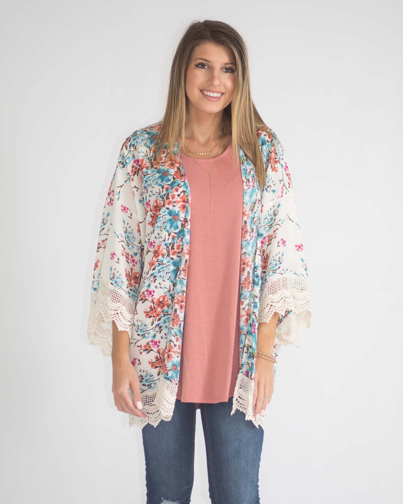 Emerie Floral Bell Sleeve Kimono