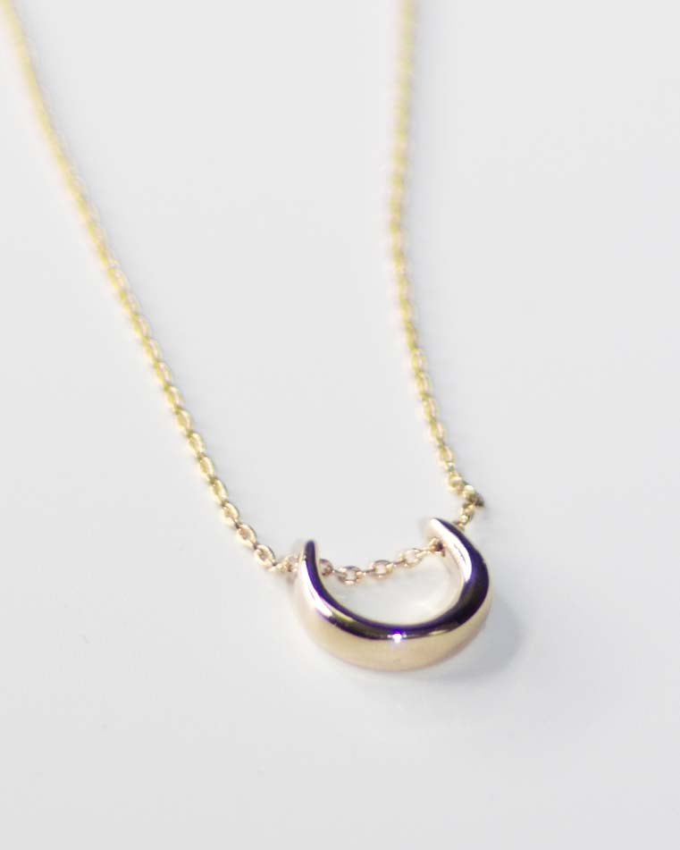Gold Crescent Charm Necklace