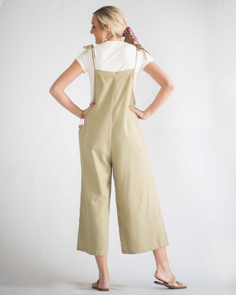 Addie Pocketed Shoulder Tie Jumpsuit