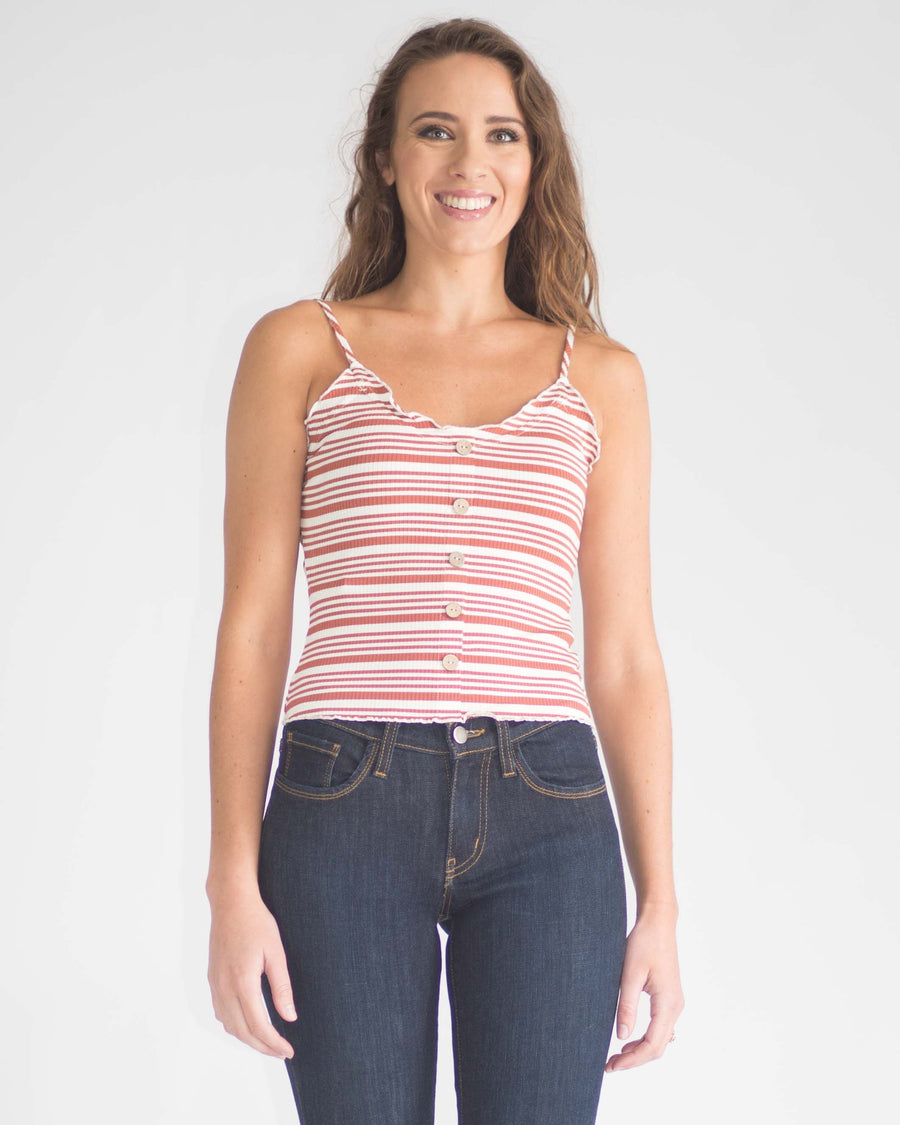 Faye Cropped Button Front Tank