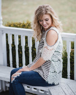 Lace Back Open Shoulder Top | Rose & Remington
