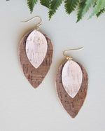 Beige Leaf Cork Earrings