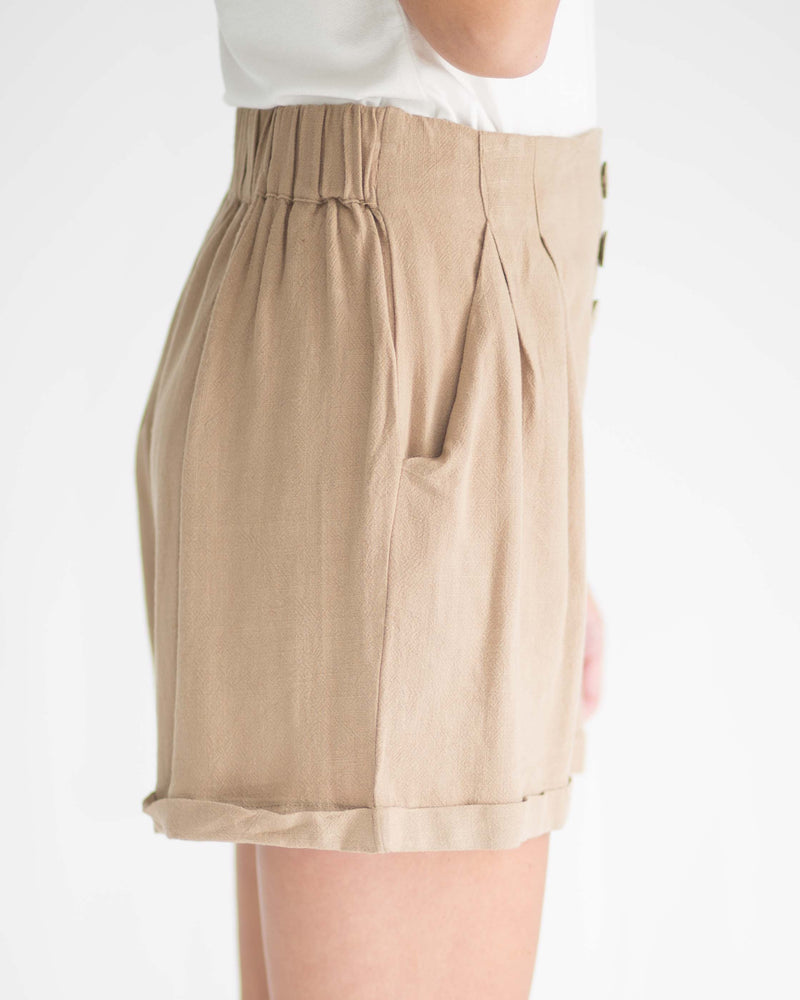 Latte Cuffed Button Front Shorts