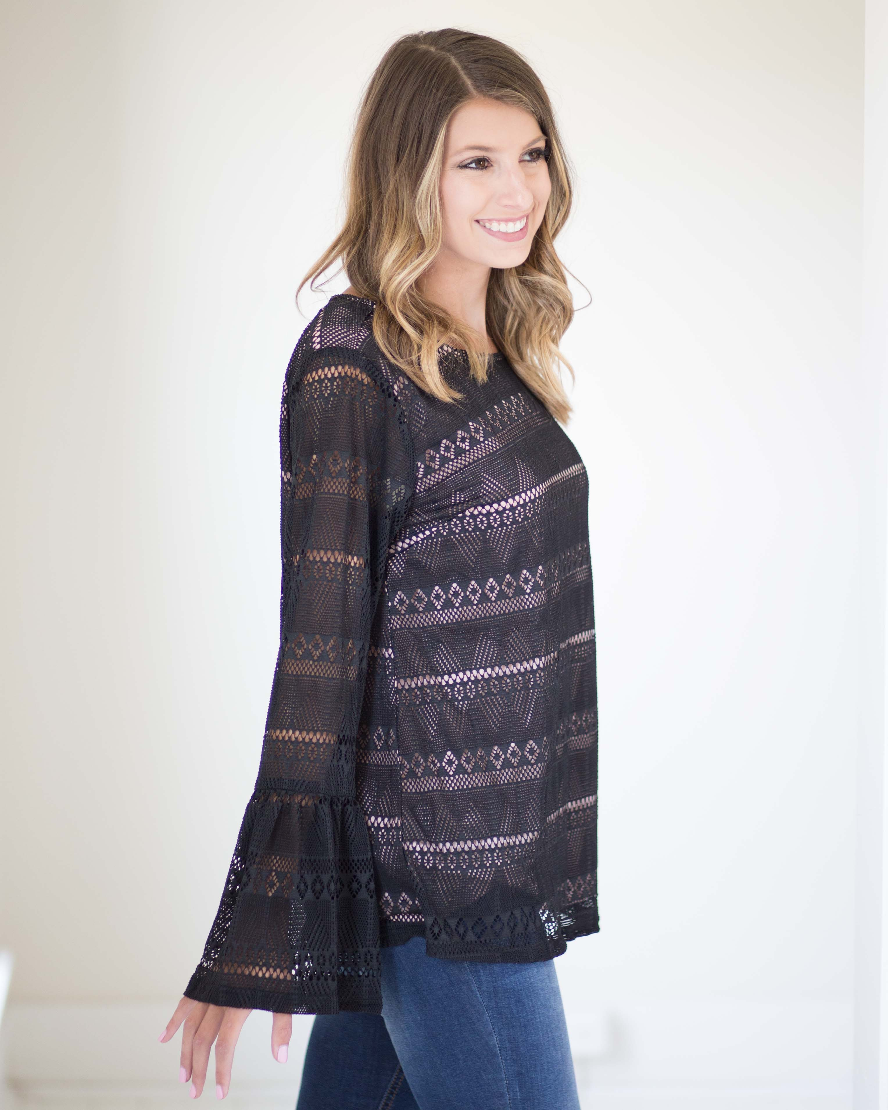 Bria Lace Bell Sleeve Top | Rose & Remington