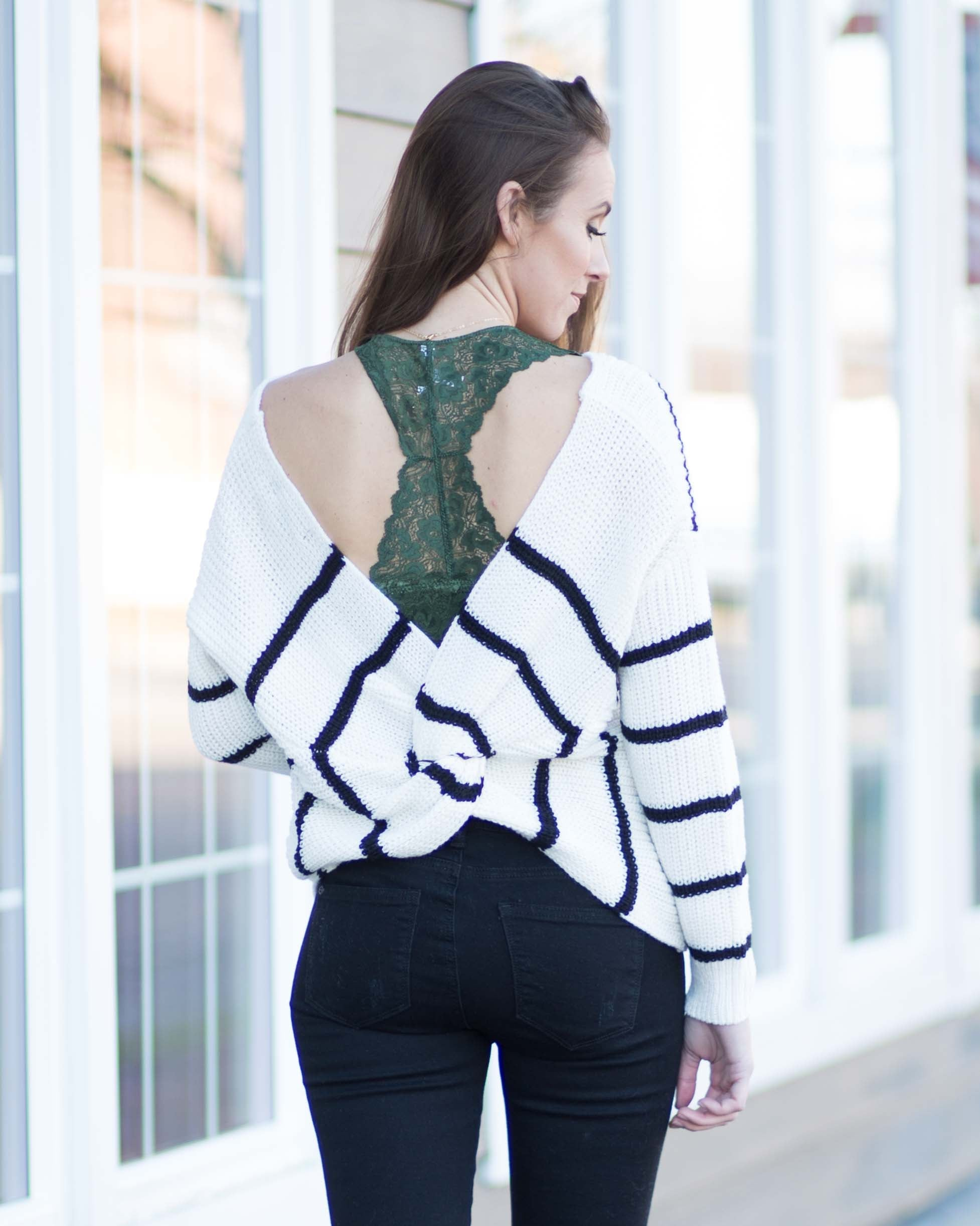 Nova Striped Twist Back Sweater