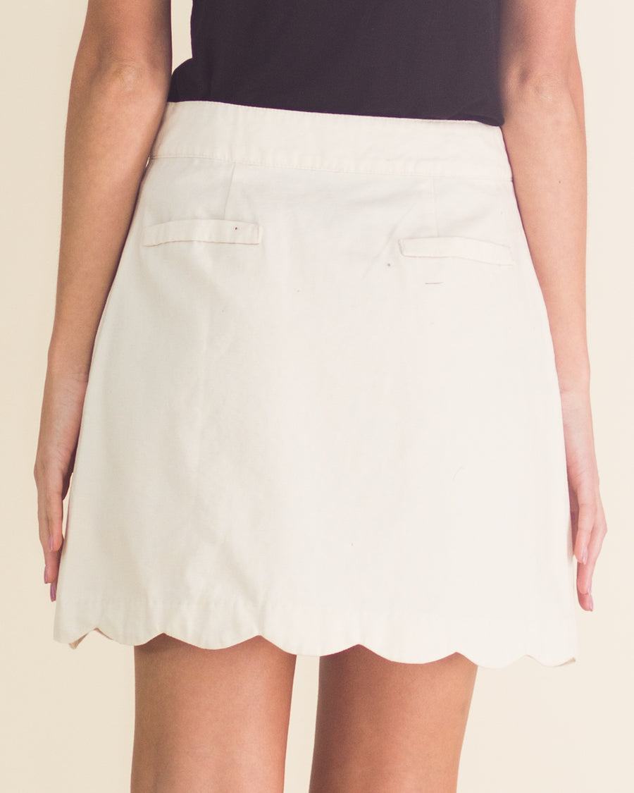 Button Front Scallop Hem Skirt