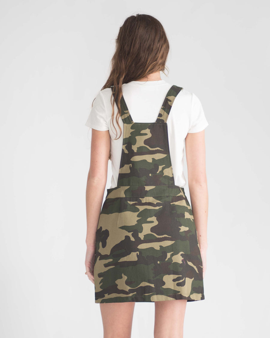 Camo Pocketed Overall Dress