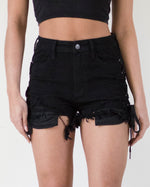 Black Tie Down High Waisted Short