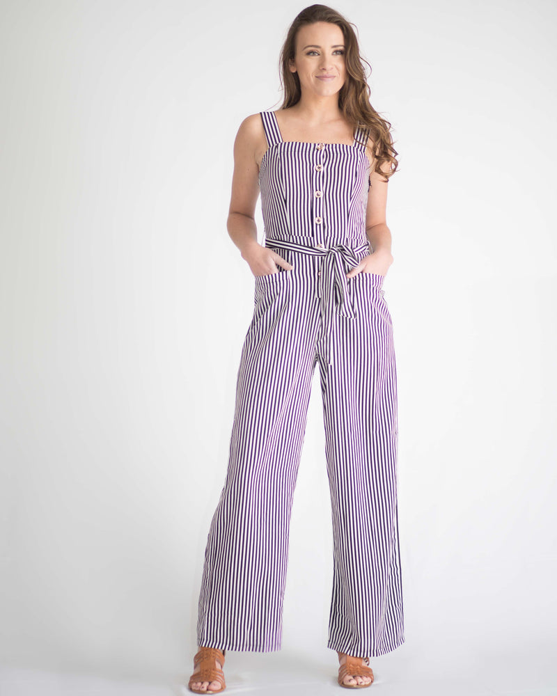 Vivian Pinstripe Pocketed Jumpsuit