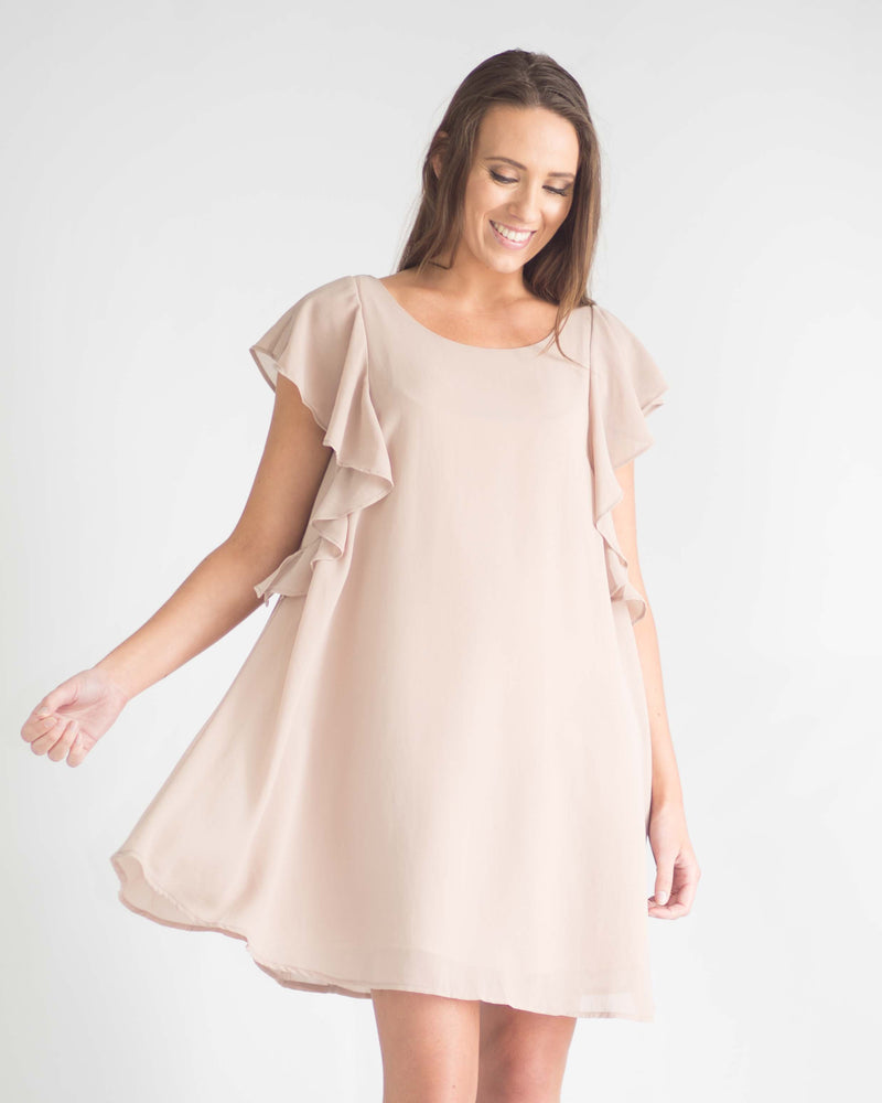 Latte Ruffle Sleeve Dress