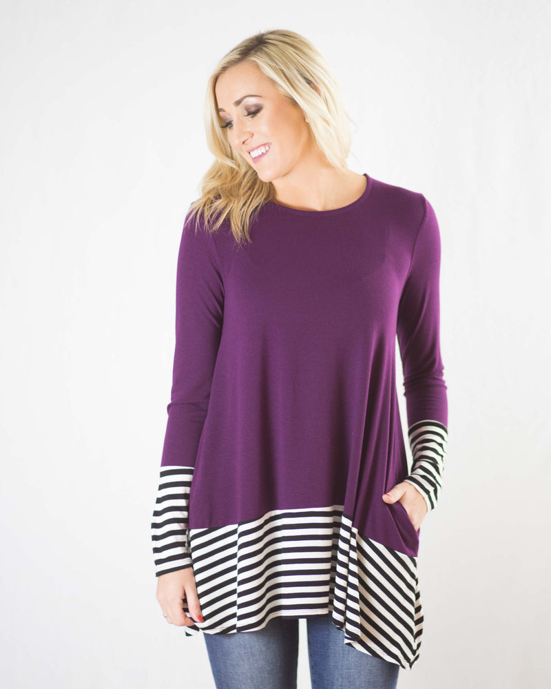 Adeline Stripe Contrast Pocketed Top