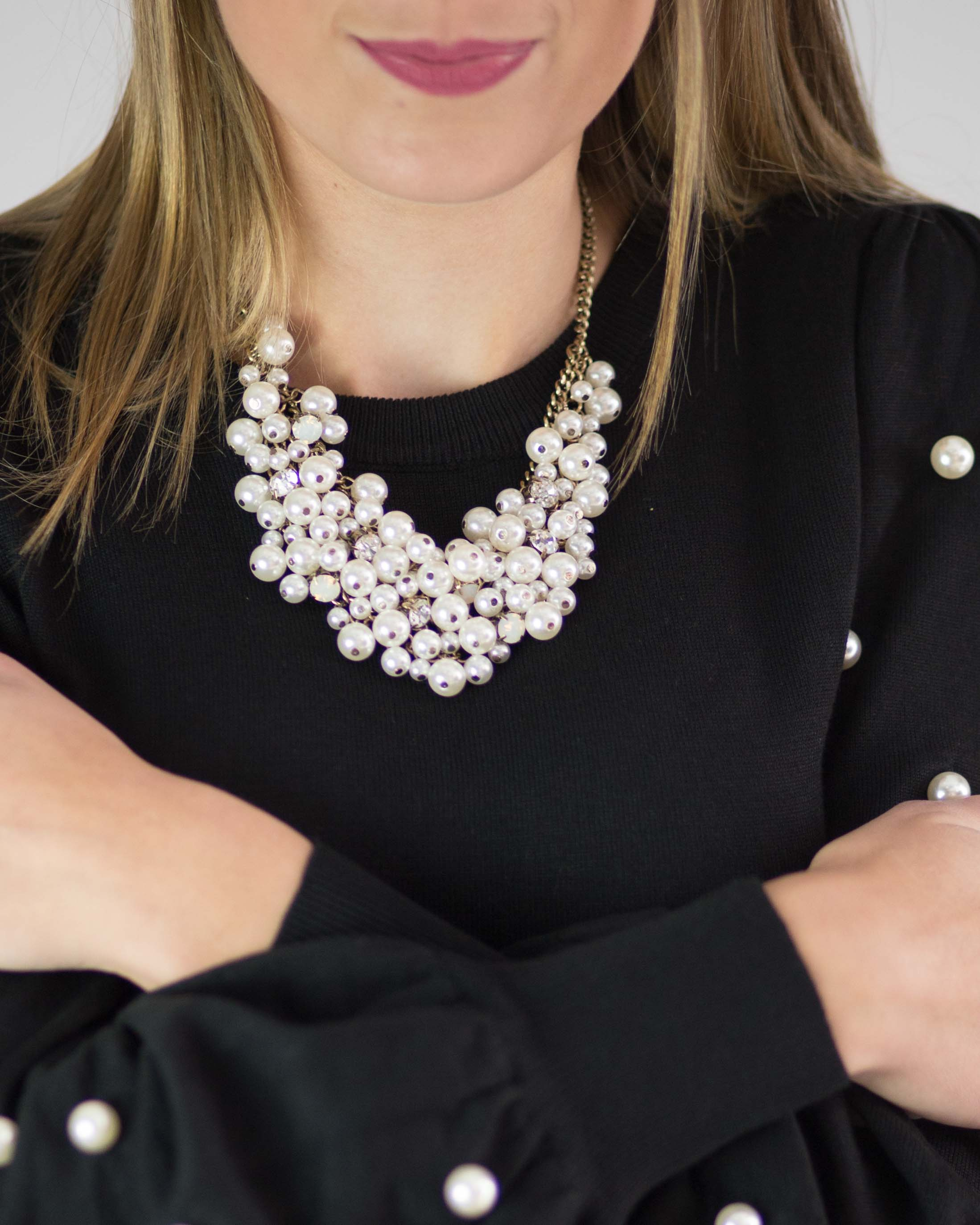 Pearl Cluster Statement Necklace