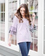 Sidney Striped Ruffle Sleeve Top