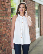Waffle Knit Buttoned Top
