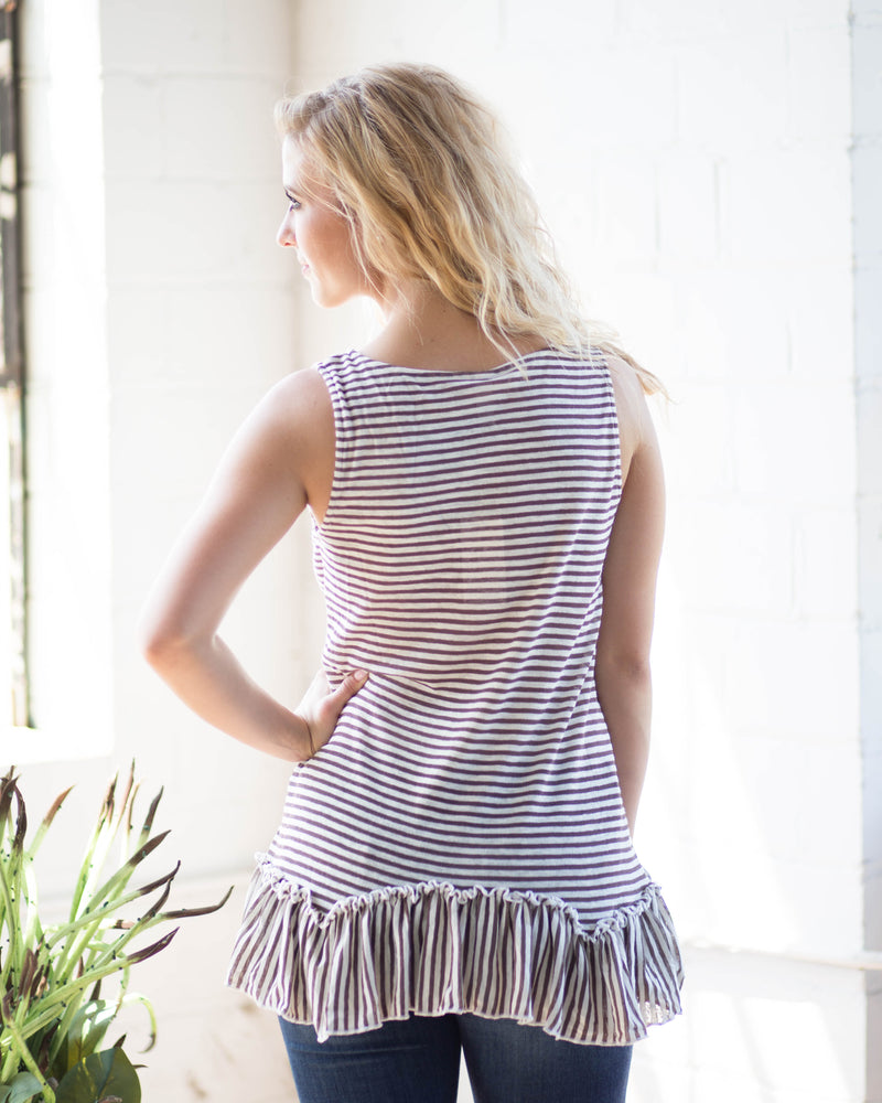 Sadie Ruffle Trim Tank | Rose & Remington