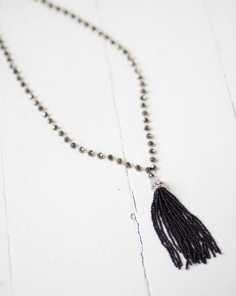 Midnight Beaded Tassel Necklace