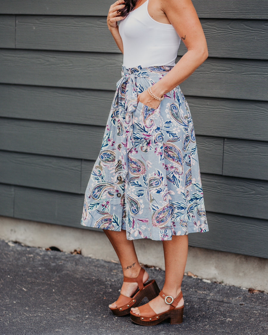Paisley Button Front Skirt