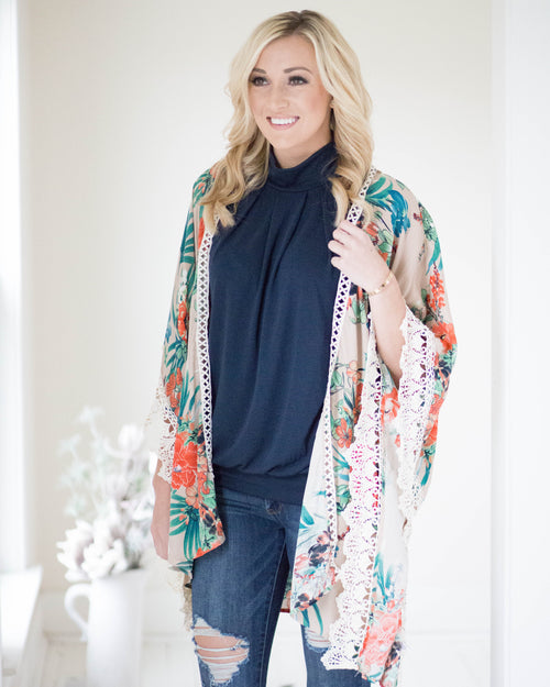 Tropical Lace Trim Kimono | Rose & Remington