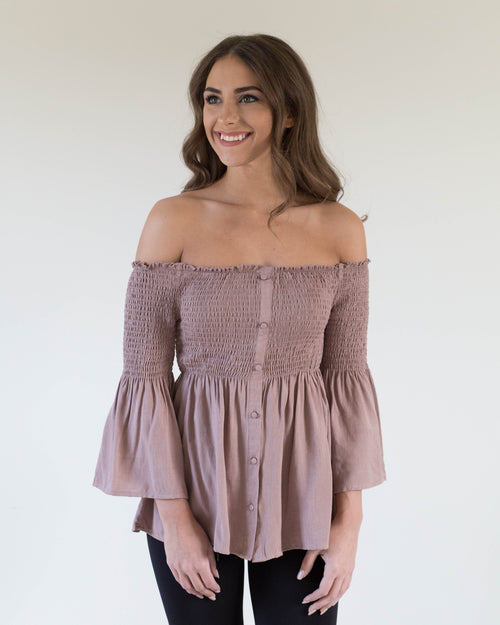 Sweet Babydoll Open Shoulder Top | Rose & Remington