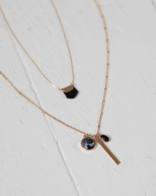 Noir Two Layer Necklace | Rose & Remington