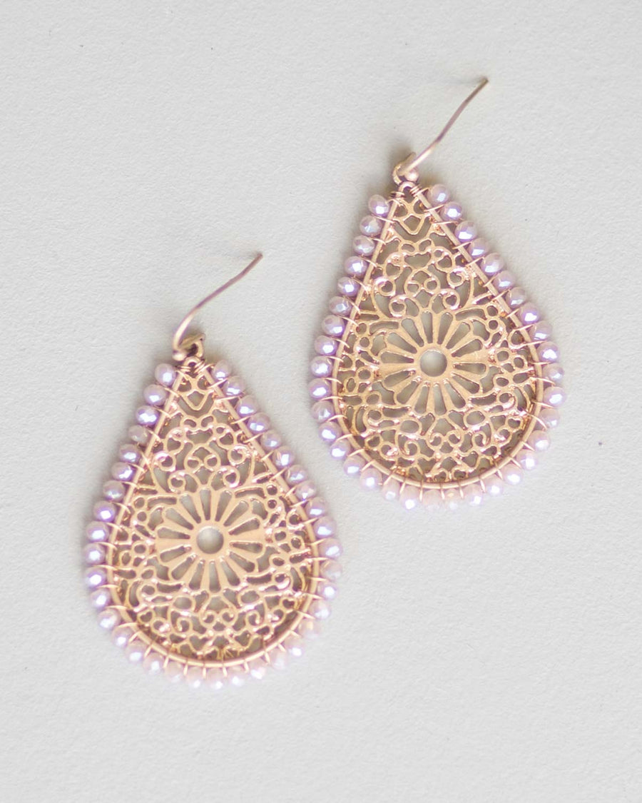 Champagne Beaded Drop Earrings