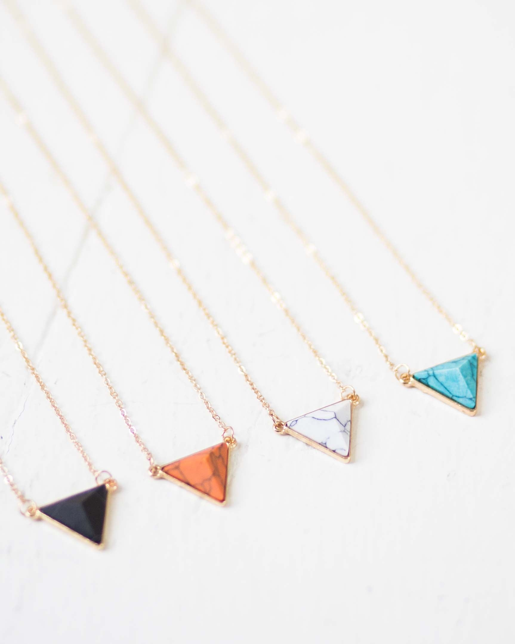 Geo Triangle Stone Necklace