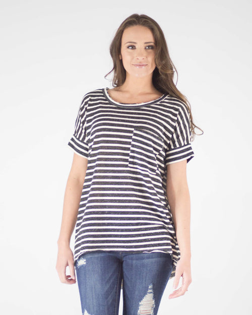 Comfort Fit Striped Pocket Tee