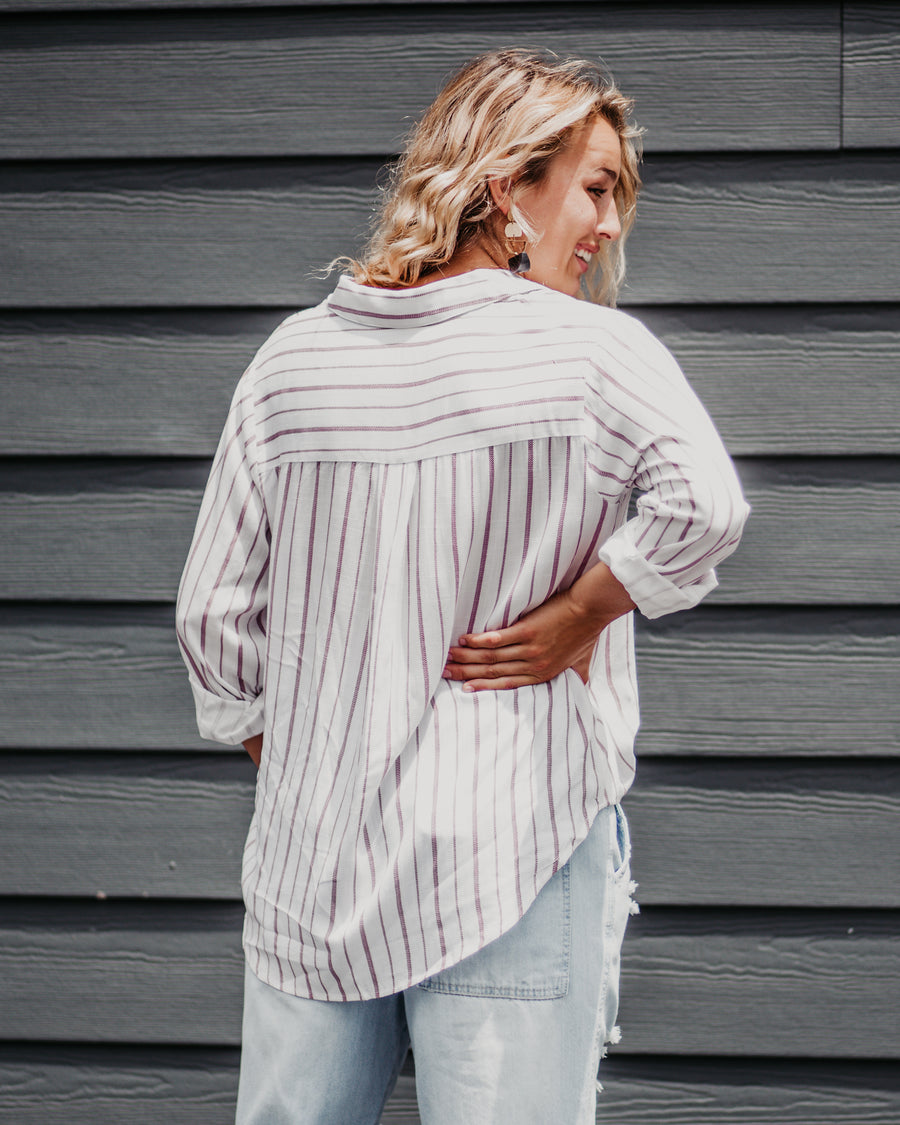 Rachel Striped Cuff Sleeve Top