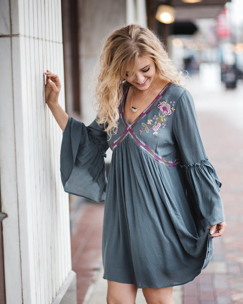 Tulip Sleeve Boho Dress