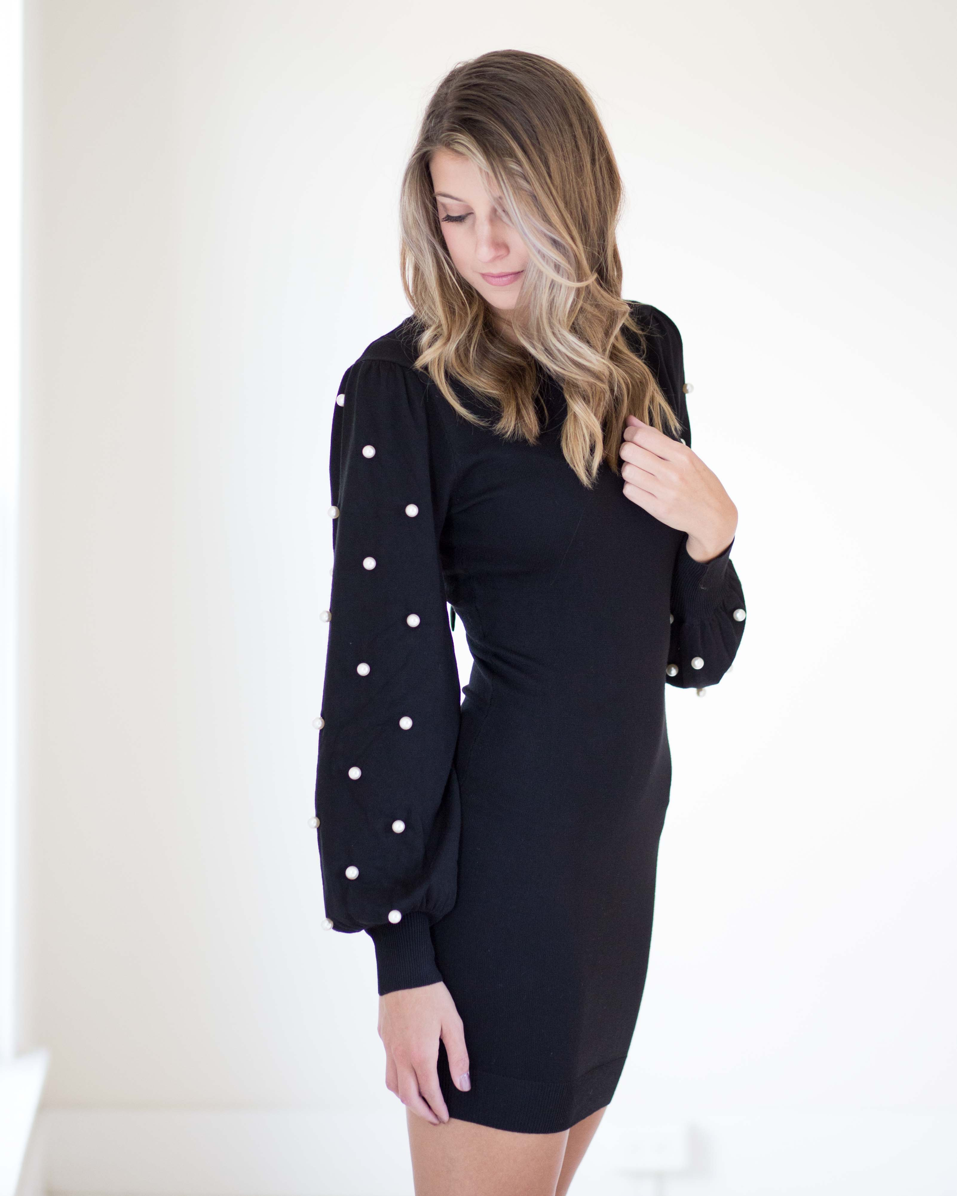 Classic Pearl Sleeve Sweater Dress