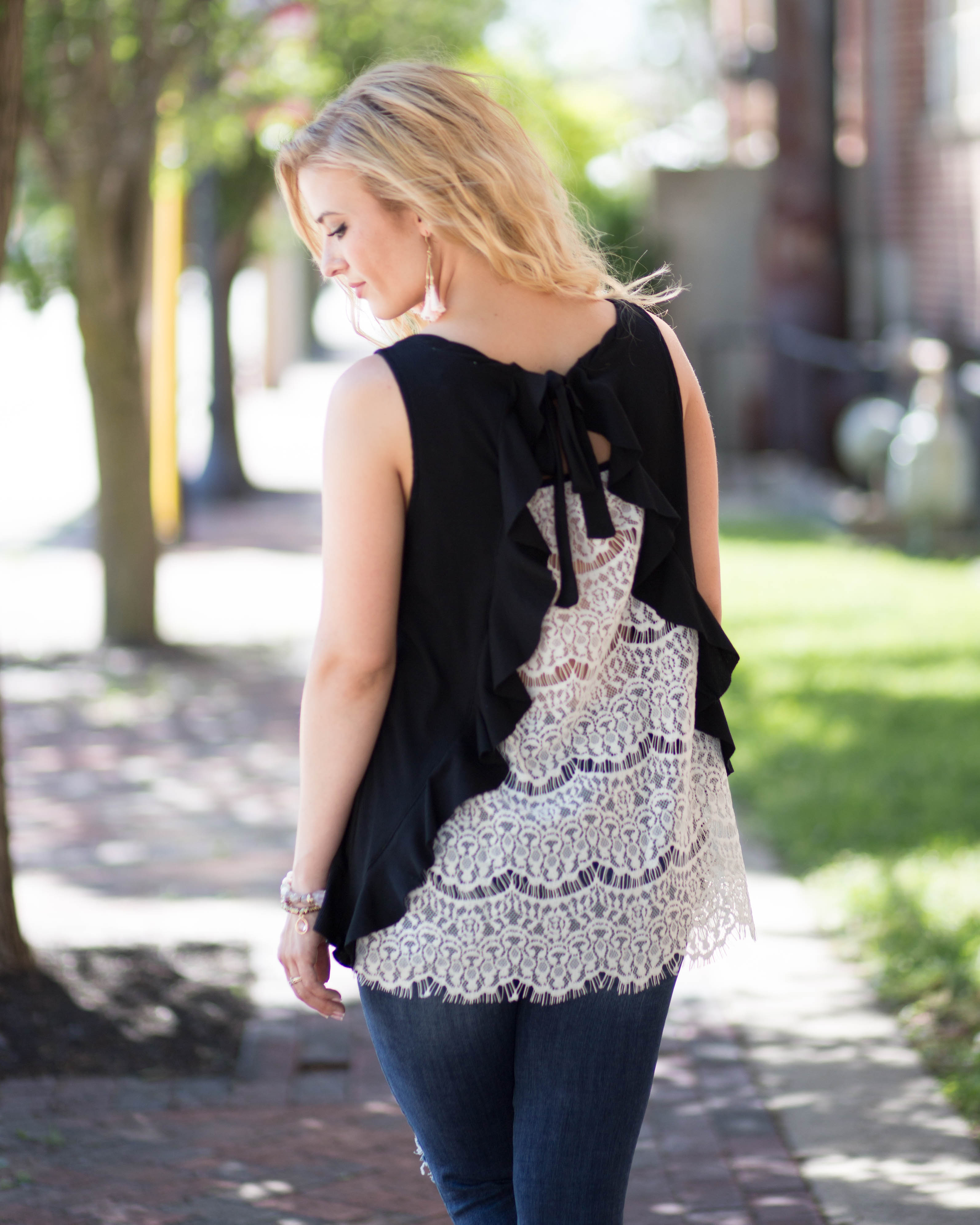 Lacey Back Detail Tank | Rose & Remington