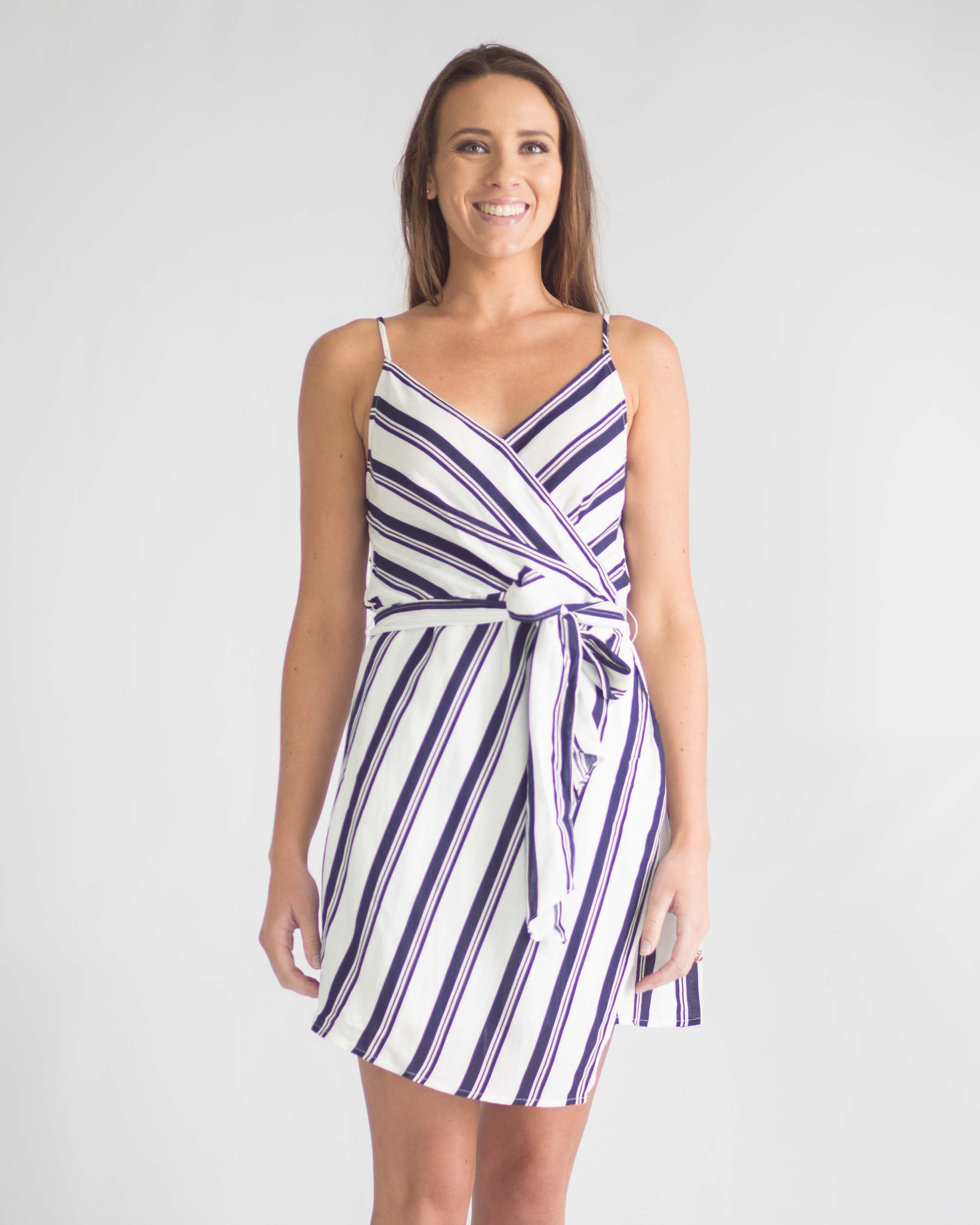 Sasha Striped Waist Tie Dress